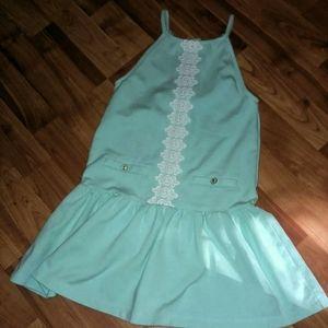 Janie & Jack Dress 6Y Pale Mint Blue White Lace Ac